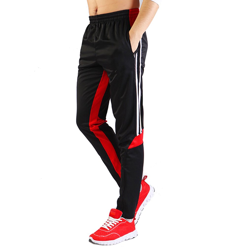 SHINESTONE Men's Skinny Sportswear Soccer Training Pants Fitness Pants Casual Pants (Medium, Back red)