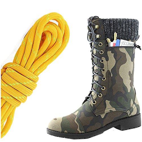 Dailyshoes Womens Combat Stijl Lace Up Enkellaarsje Ronde Teen Militaire Knit Creditcard Mes Geld Portemonnee Pocket Laarzen, Mandarijn Lime Camouflage Cv