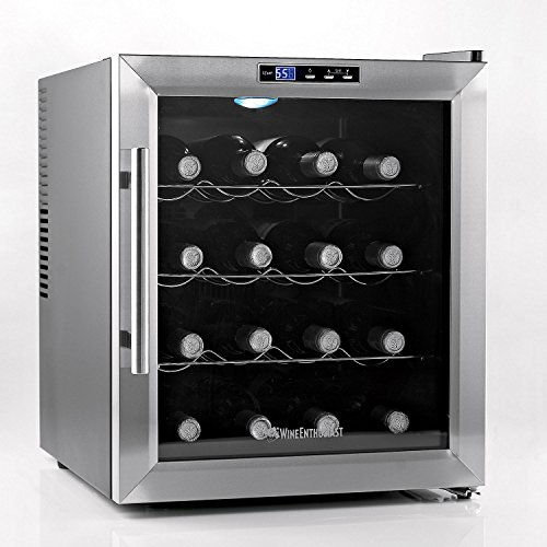 Wine Enthusiast 272 02 17 Silent 16 Bottle Touchscreen Wine Cooler, Stainless Steel by Wine Enthusiast