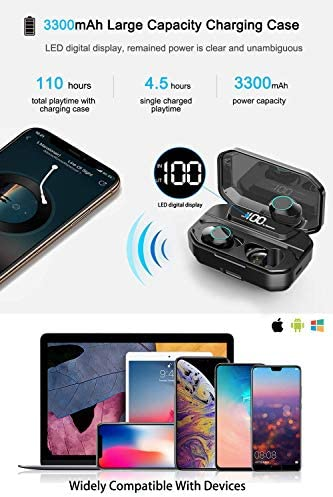 [Xmythorig Ultimate] True Wireless Earbuds Bluetooth 5.0 Headphones, IPX7 Waterproof Earphones for Sports, 110H Playtime w/ 3300mAh Charging Case, 3-D Stereo Audio Touch Control in-Ear Headset w/Mic