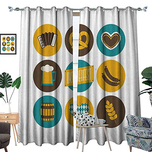 homehot German Room Darkening Wide Curtains Bavarian Oktoberfest Themed Symbols Pretzel Beer and Accordion Customized Curtains Earth Yellow Teal and Brown