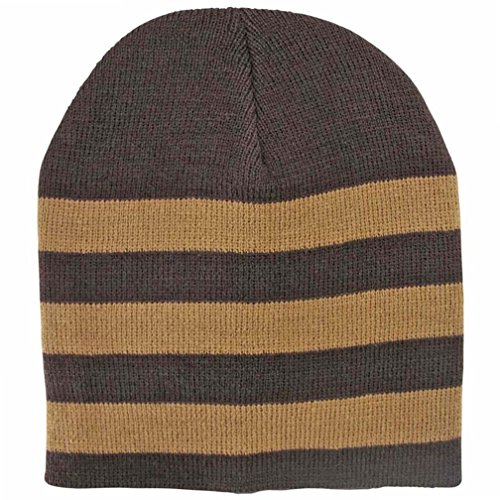 Luxury Divas Brown & Tan Tight Fitting Striped Knit Beanie Cap Hat (Brown Striped Beanie)