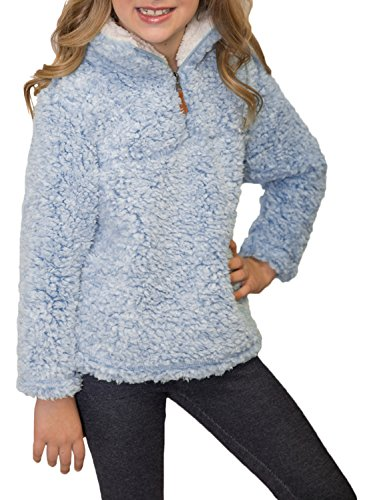 ZESICA Girls Kids 1/4 Zip Pebble Pile Sherpa Fleece Pullover Jacket Tops (Pile Fleece Pullover)