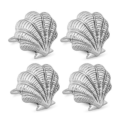 (Supreme 4-Piece Sea Shell Zinc Alloy Napkin Rings for Wedding Decorations, Banquet, Birthday, Dinner, Holiday Parties, Family Gatherings)