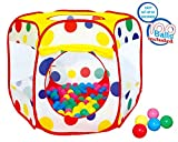 Polka Dot Ball Pit Twist Pool Popup Hexagon Mesh Play Tent with 100 Playball by POCO DIVO