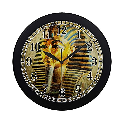 - InterestPrint Egyptian Decor Ancient Egypt Tutankhamun Round Quartz Wall Clock Large Number Clock for Office School Kitchen Bedroom Living Room Decor, Black