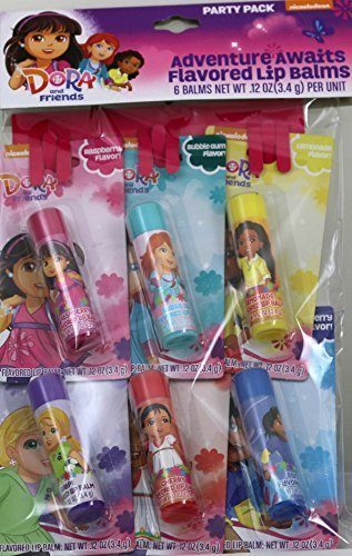 Dora and Friends Adventure Awaits Flavored Lip Balms Party Pack in 6 Flavors (Raspberry, Bubble Gum, Lemonade, Grape, Cherry & Blueberry) (Gloss Lip Grape Flavored)