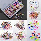 Maggie 90 Pcs Acrylic Stainless Steel Body Piercing Jewelry Eyebrow Tongue Bar Lip Nose Rings Studs