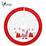 37'' Christmas Tree Decoration Skirt with Delicate Embroidery of Snowman, Christmas Tree and Snowflake for New Year Home Party Decor