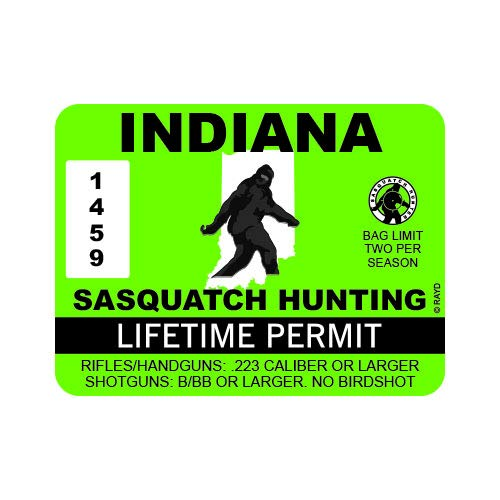 "RDW Indiana Sasquatch Hunting Permit - Color Sticker - Decal - Die Cut - Size: 4.00"" x 3.00"""