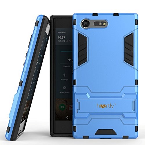 Heartly Graphic Kickstand Hard Dual Rugged Armor Hybrid Bumper Back Case Cover for Sony Xperia X Compact 4.6    Power Blue