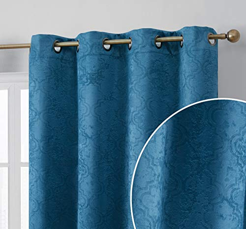 HLC.ME Redmont Lattice Pattern Thick Soft Thermal Insulated Energy Efficient Room Darkening Privacy Blackout Grommet Curtain Panels for Living Room - Set of 2 Panels (54 x 96 Inches Long, Teal Blue) (Lined Curtains Teal)