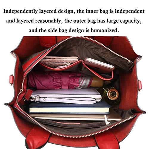 2018 Kaki Dames Cuir à HJLY Grande Capacité Main Messenger Simple Bandoulière Cuir Sac Sac En Sac En Bag Napa Leather à Grand 511vqS4