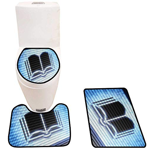 Soft Toilet Rug 3 Pieces Set Book Full Icons Like That is in My Portfolio Customized Super Soft Plush