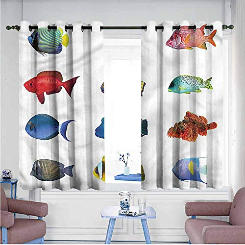 VIVIDX Indoor/Outdoor Curtains,Fish,Tropical Angelfish Clownfish,Blackout Draperies for Bedroom,W72x63L