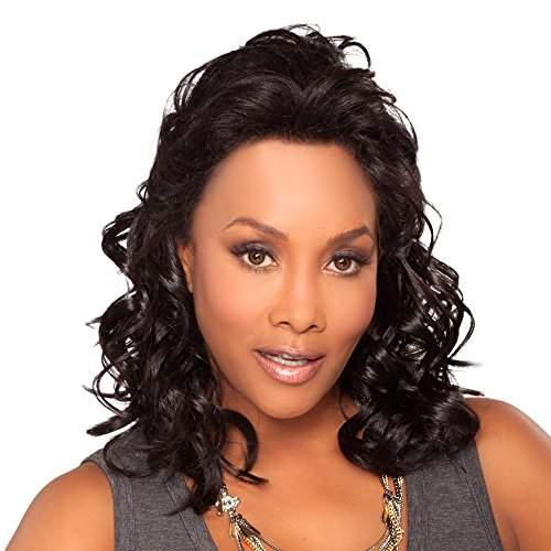 Vivica A. Fox JOANNA-V Synthetic Fiber, Deep Lace Front Wig in Color CABERNET -