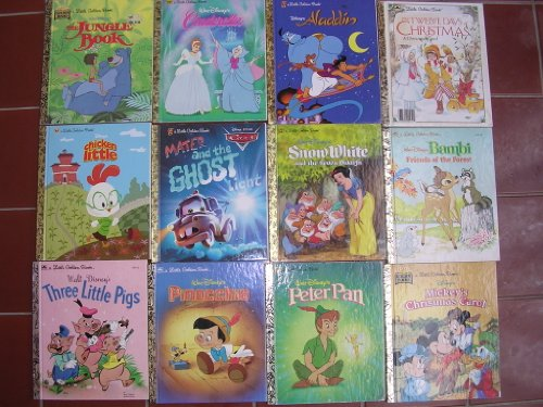 Disney Box Set of 12 Little Golden Books ; Mickey Mouse Christmas Carol, 12 Days, Bambi, Peter Pan, Aladdin, Snow White, Pinocchio, Cars, Cinderella, 3 Little Pigs, Chicken Little, Jungle Book (A Little Golden Book) (Little White Car)