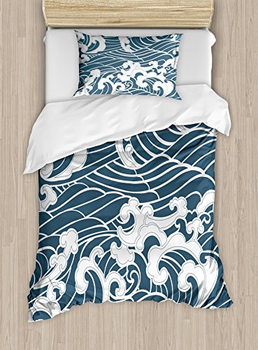 (Ambesonne Japanese Wave Duvet Cover Set Twin Size, Hand Drawn Traditional Style Aquatic Doodle River Storm Retro Abstract, Decorative 2 Piece Bedding Set with 1 Pillow Sham, Slate Blue)
