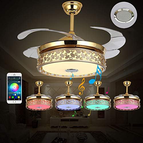 - Modern Ceiling Fan with LED Lights Blutooth Speaker Remote Control Multifunctional Pendant Chandelier Fixtures Retractable Blades Colorful Lights Wireless Control Golden 42in