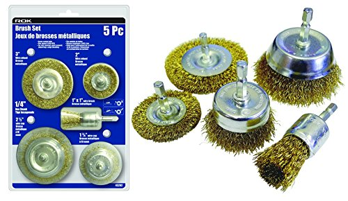 5 Piece Wire Brush Set, 1/4-inch Hex Shanks for Drill ()