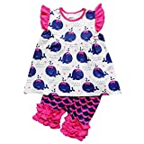 So Sydney Girls Or Toddler Deluxe Novelty Ruffle Summer Boutique Shorts Outfit (XS (2T), Hot Pink & Navy Whale)