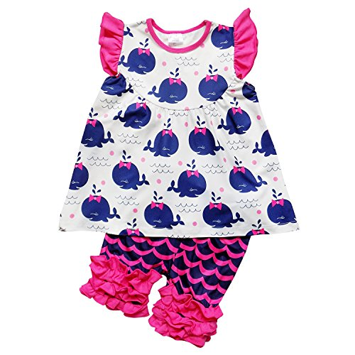 So Sydney Girls Toddler Deluxe Novelty Ruffle Summer Boutique Shorts Outfit (S (3T), Hot Pink & Navy (Navy Whale)