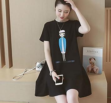 Ropa de maternidad en la versión coreana de impresión cuello redondo manga corta suelto largo vestidos