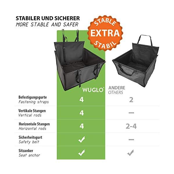 51T5R3XsGjL WUGLO Extra Stabiler Hunde Autositz - Verstärkter Autositz für kleine und mittlere Hunde mit 4 Befestigungsgurten…