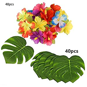 """Tropical Party Decoration 88 Pcs 20cm/8"""" Tropical Palm Leaves and Silk Hibiscus Flowers Tropical Party Decoration 95"""