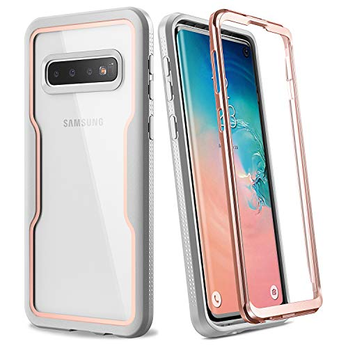 YOUMAKER Case for Galaxy S10, Crystal Clear Heavy Duty Protection Full Body Shockproof Slim Fit Without Built-in Screen Protector Cover for Samsung Galaxy S10 6.1 inch (2019) - Rose Gold/Gray
