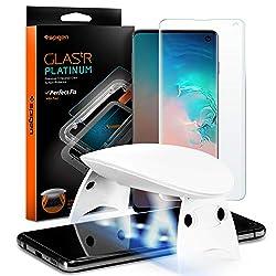 Spigen, Glas.tR Platinum, UV Panzerglas Schutzfolie für Samsung Galaxy S10, Fingerabdrucksensor kompatibel…
