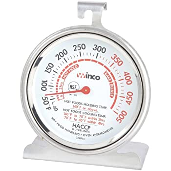 Winco 3-Inch Dial Oven Thermometer with Hook and Panel Base