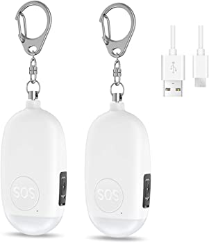 2-Pack Oria Personal Safety Alarm Keychain with LED Light