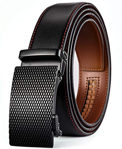 plyesxale Men's Leather Ratchet Dress Belt- Length is Adjustable - Delicate Gift Box (Waist Size:36-44