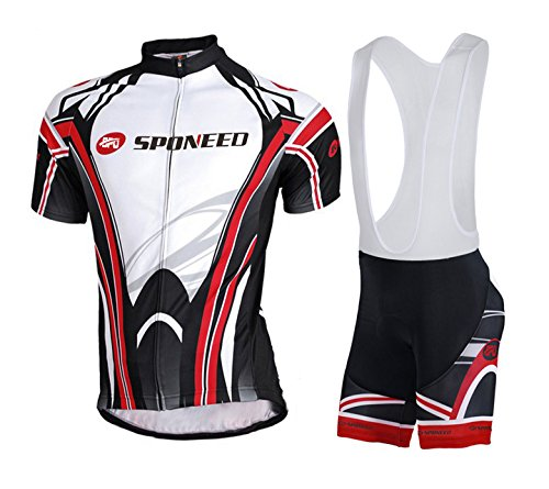 Bike Bibs,Sponeed Men's Cycling Jersey Bib Shorts Padded Pro Style Asian M/ US S Black-red
