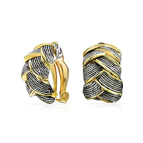Braided Cable Woven Half Hoop Clip On Earrings Gold Plated Brass