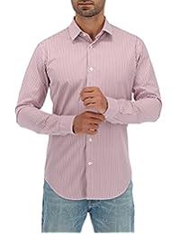 Camisa Casual Slim Fit De Rayas Delgadas Morado
