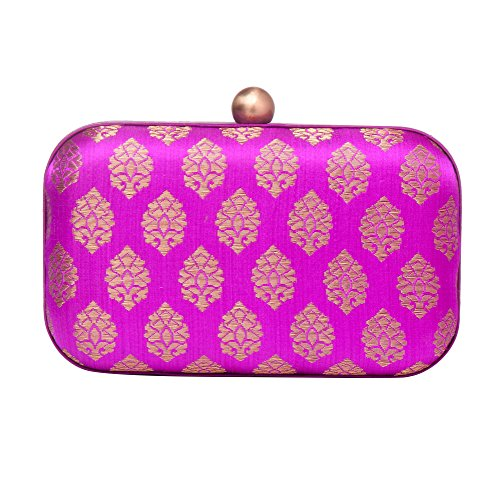 brocade evening women clutches Stylish box for Purple clutch silk party 4twntAWFvq