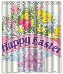 Outlet-Seller Custom Happy Easter Flowers Waterproof Bathroom Fabric Shower Curtain
