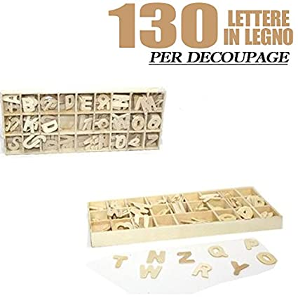 Lettere In Legno Decoupage Alfabeto Dalla A Alla Z 130 Pezzi 2 Cm