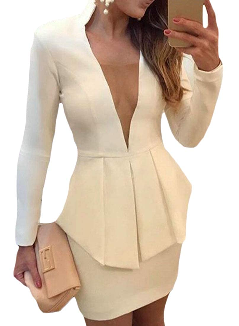Women Business Solid Blazer and Bodycon Pencil Skirt 2 Pieces Set