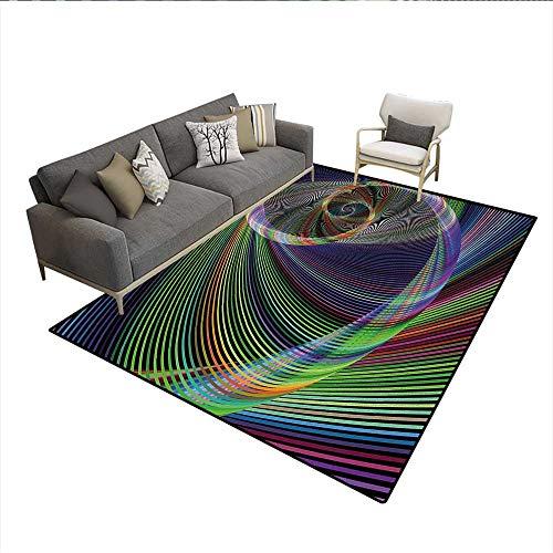 (Carpet,Dynamic Spiral Digital Background Energy Motion Swirl Artful Modern Illustration,Non Slip Rug Pad,Green PurpleSize:6'6