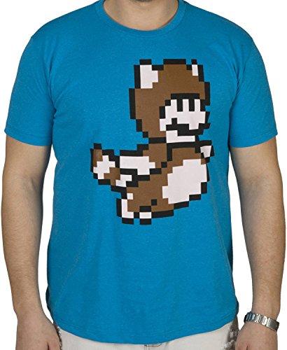 Isaac Morris Men's Nintendo Pixel Mario Tanooki Suit Shirt Heather Turquoise XL