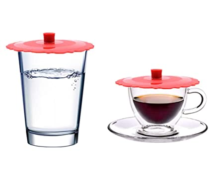 efff07cbd4c Wolecok Set of 2 Silicone Mug Coffee Cup Cover, Tea Glass Drink Cup Lid Red