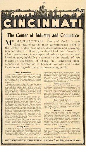 1907 Ad Cincinnati Industrial Bureau Raw Material Fuel - Original Print Ad