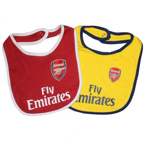 Arsenal FC Bibs - Set of 2 - Bibs feature Gunners team colors and crest - Great for the Little Arsenal FC Fan - One Bib is Red, One Bib is Yellow - Arsenal FC Soccer - Official Arsenal Product Arsenal Set