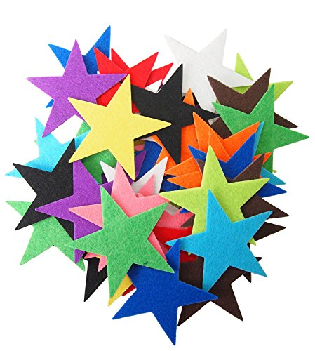 Playfully Ever After 3 inch Mixed Color Assortment 40pc Felt Star Stickers