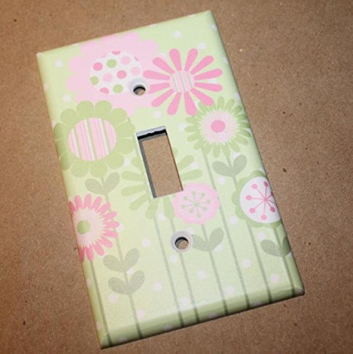 Pink and Green Flower Girl Nursery Bedroom Light Switch Cover LS0041 (Single Standard) Toad and Lily LS0041a