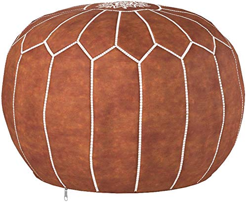 Moroccan Poufs Leather Luxury Ottomans Footstools Tan Unstuffed by moroccan poufs