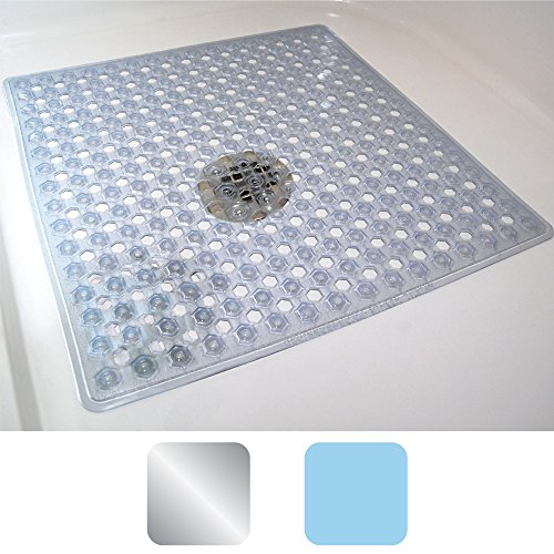 Gorilla Grip The Original (R) Bath, Shower, and Tub Mat, Antibacterial, BPA, Latex, and Phthalate Free, XL Size, Machine Washable (Clear: 21-inch by 21-inch) by Gorilla Grip